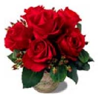 Vase of Red Rose Blooms